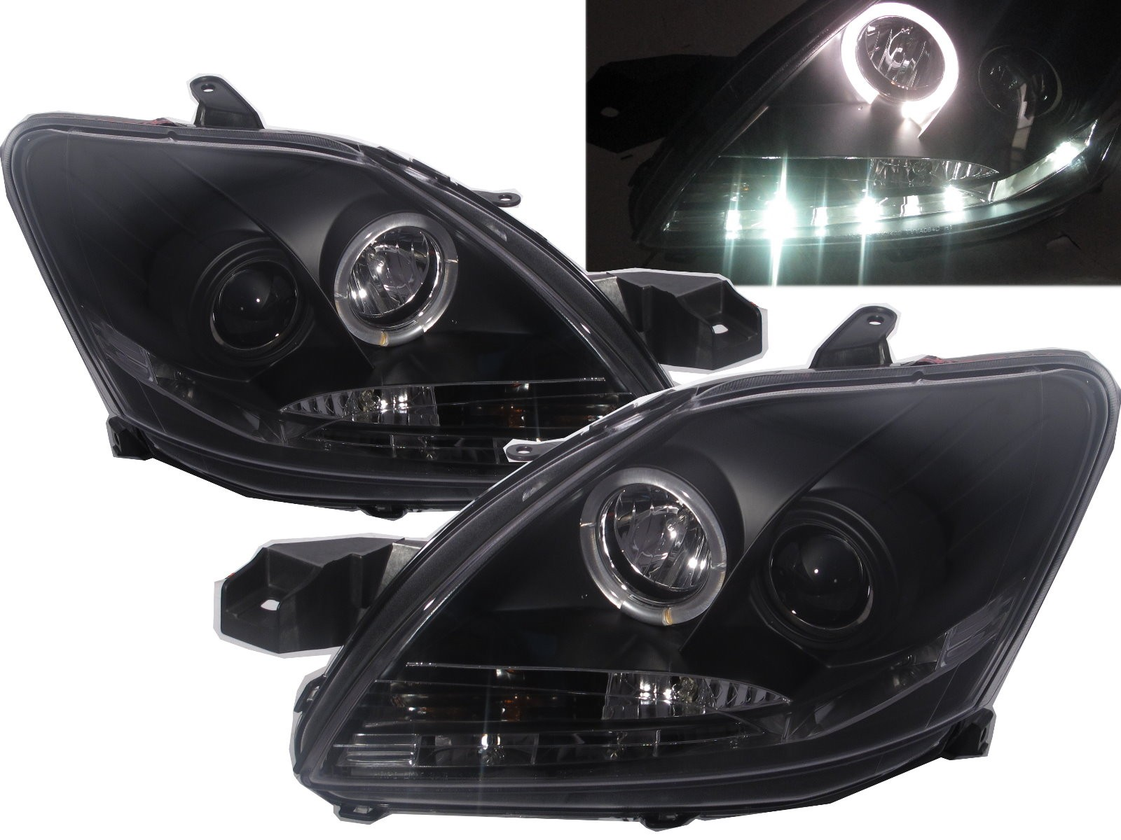 CrazyTheGod YARIS XP90 Second generation 2009-2013 FACELIFT Sedan 4D Angel-Eye Projector R8Look Headlight Headlamp Black V1 for TOYOTA LHD