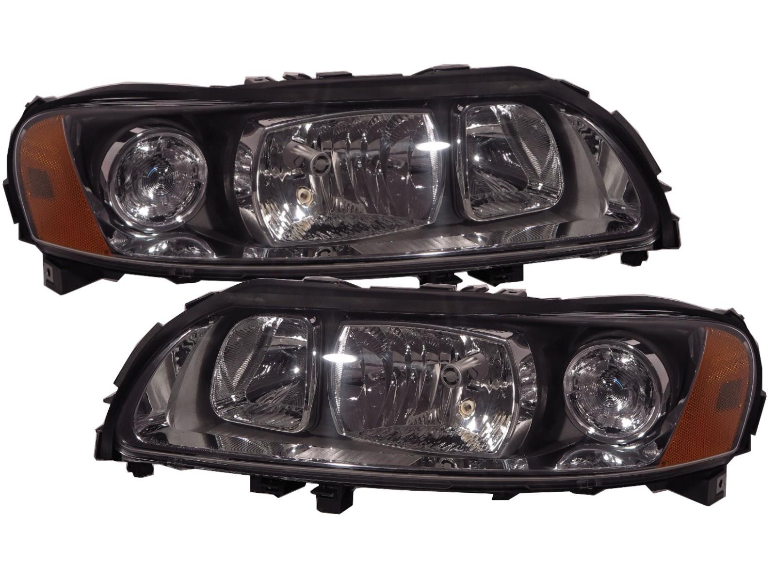 CrazyTheGod S60 First generation 2004-2009 Sedan 4D Halogen Headlight Headlamp Black for VOLVO LHD