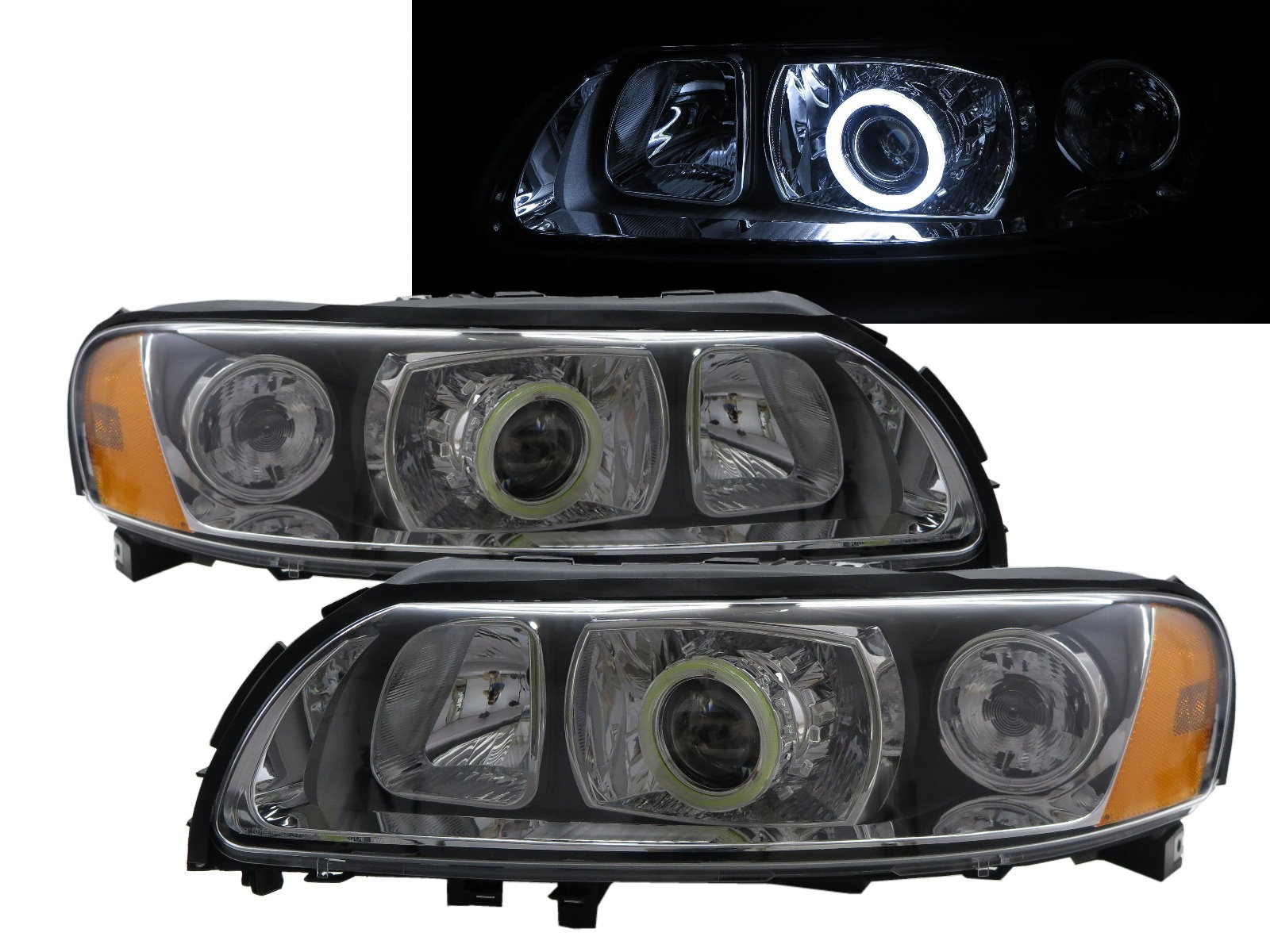 CrazyTheGod S60 First generation 2004-2009 Sedan 4D COB Projector Headlight Headlamp Black for VOLVO LHD
