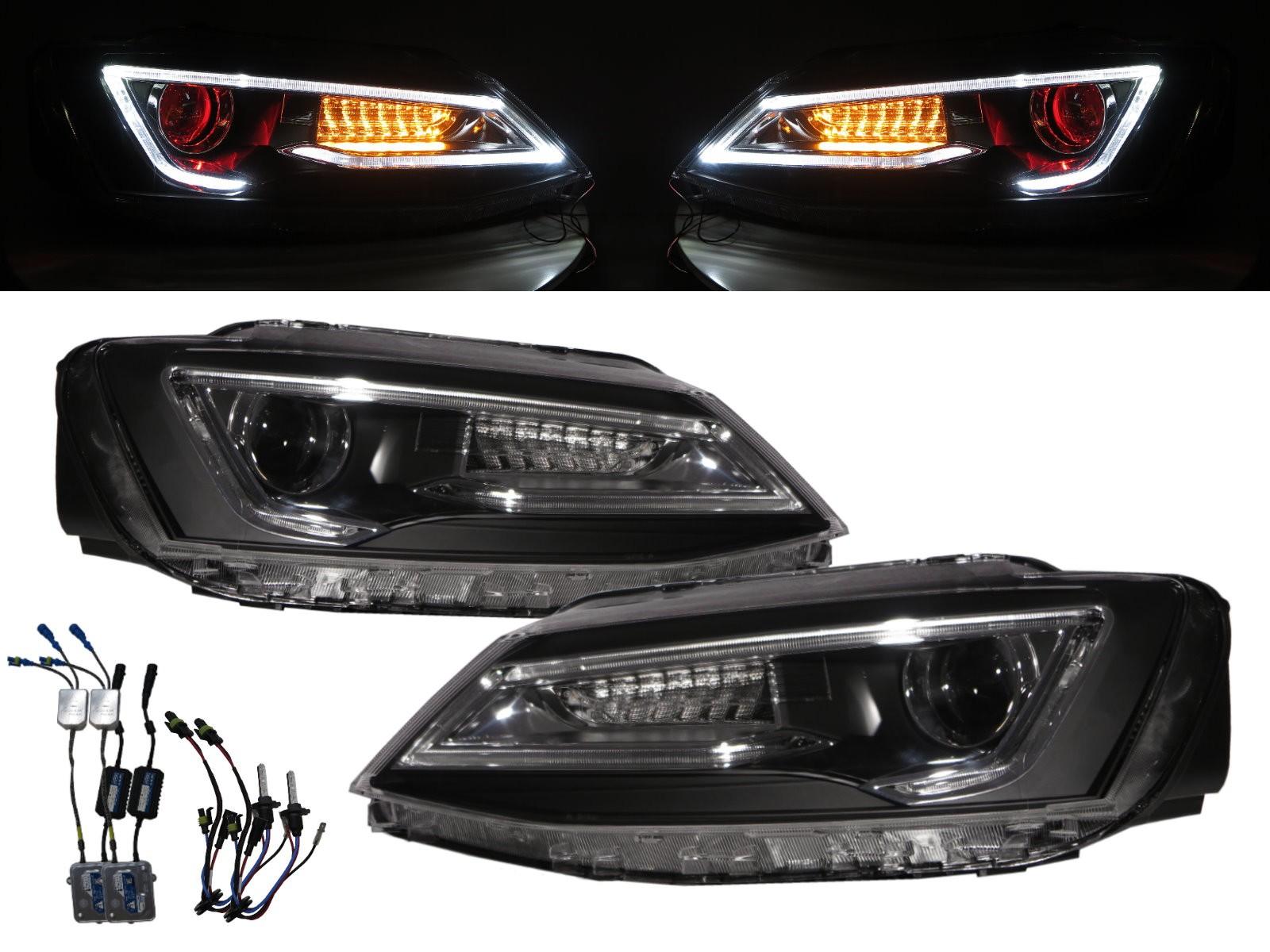 CrazyTheGod JETTA A6 1B Sixth generation 2011-2016 Sedan 4D LED Bar Halogen Headlight Headlamp Black for VW Volkswagen LHD