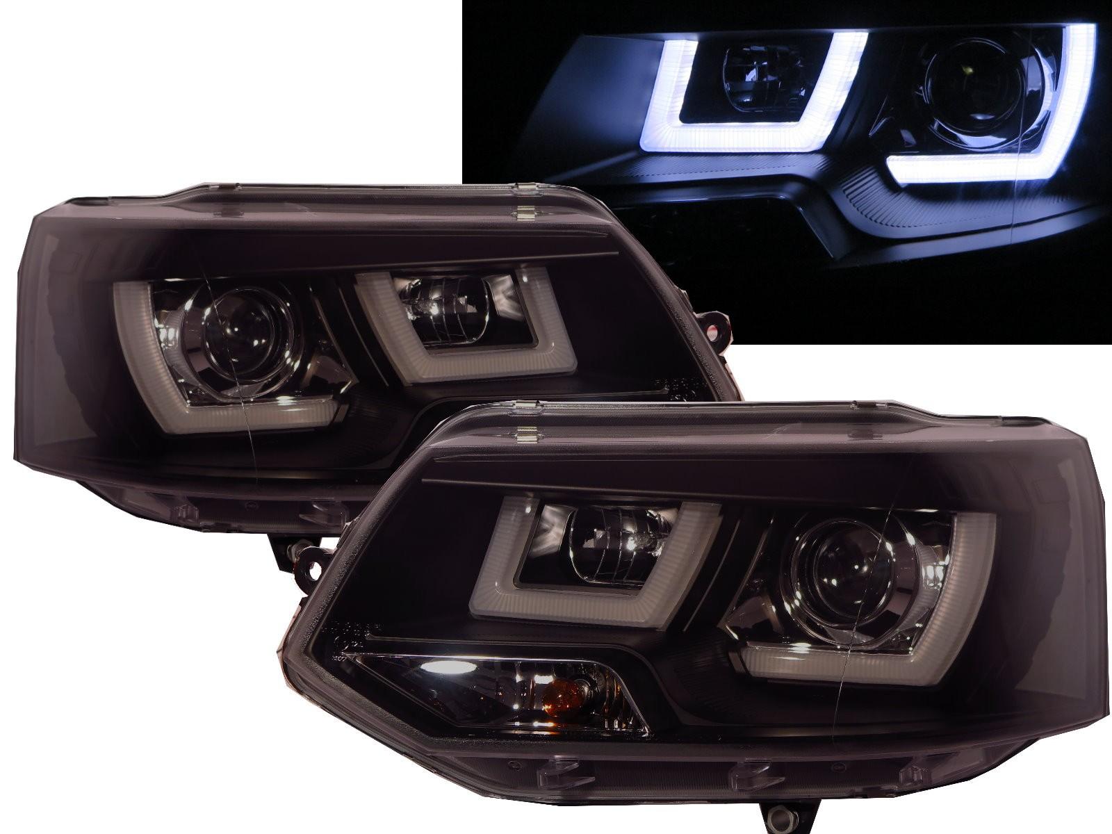 CrazyTheGod Multivan T5 Fifth generation 2011-2015 FACELIFT SUV 5D 3D LED Bar DRL Projector Headlight Headlamp Black for VW Volkswagen RHD