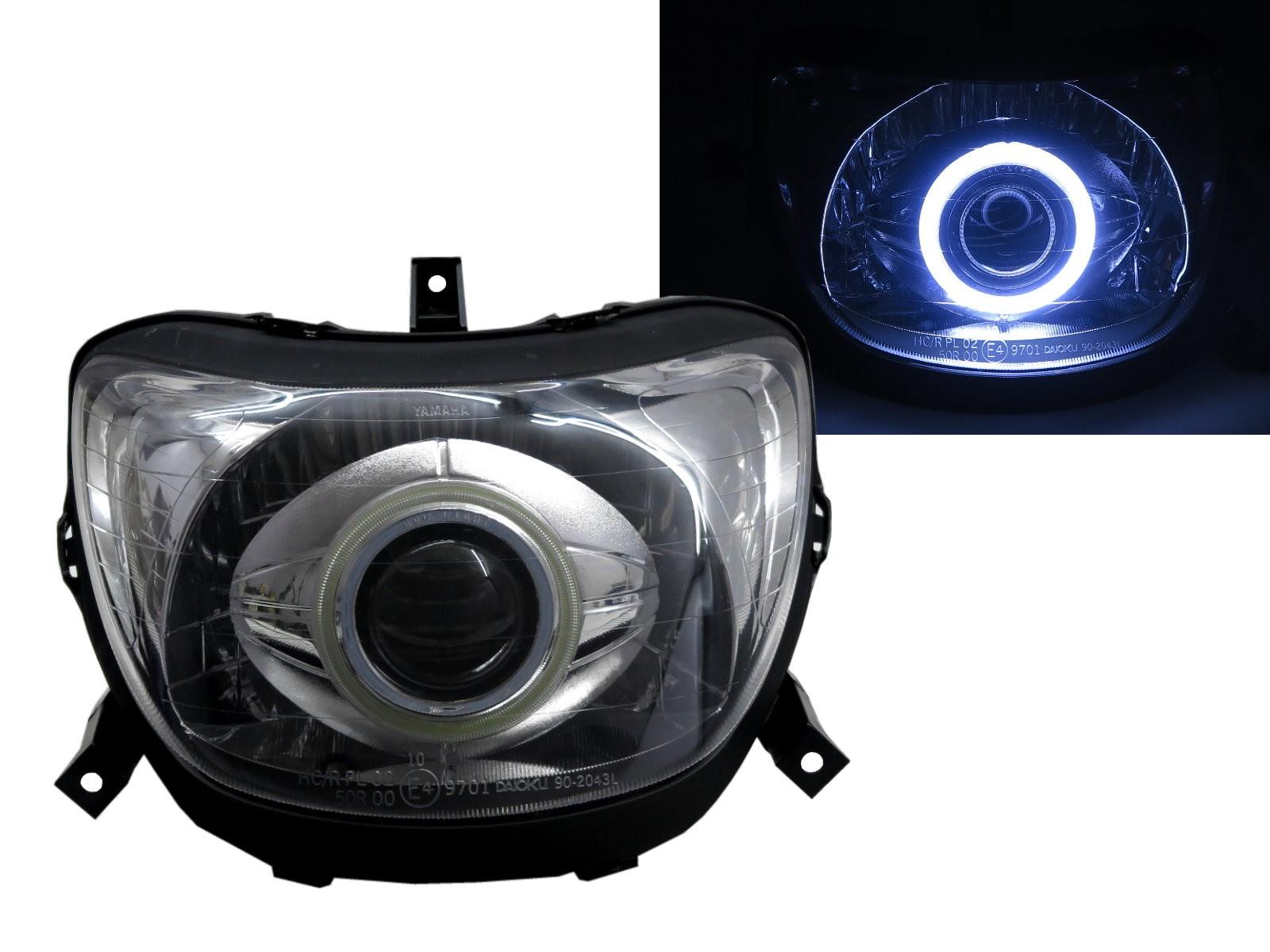 CrazyTheGod Force 1999- Motorcycles COB Projector Headlight Headlamp Chrome for YAMAHA