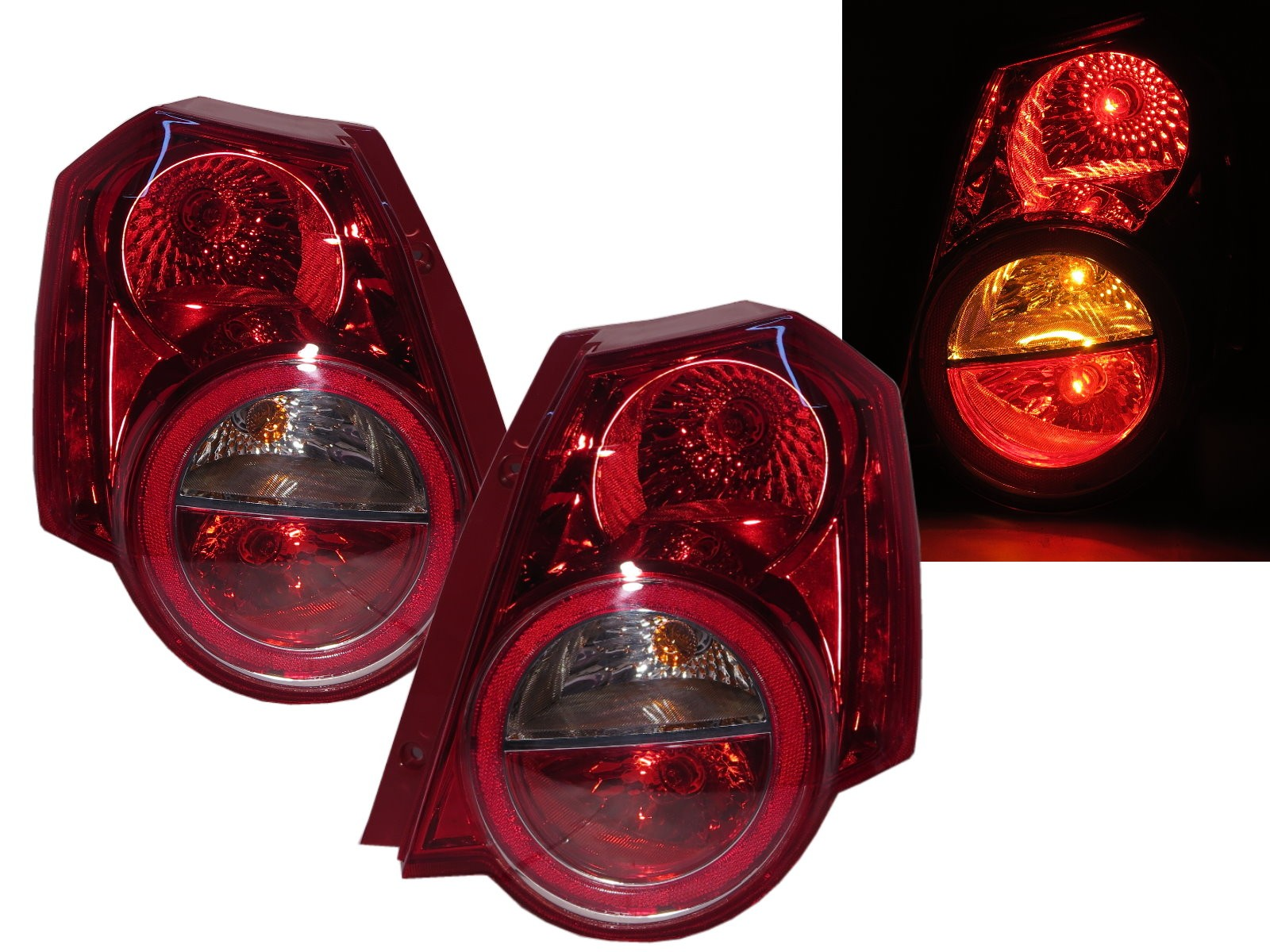 CrazyTheGod Aveo T250 First generation 2009-2011 FACELIFT Hatchback 3D/5D Clear Tail Rear Light Red for CHEVROLET CHEVY