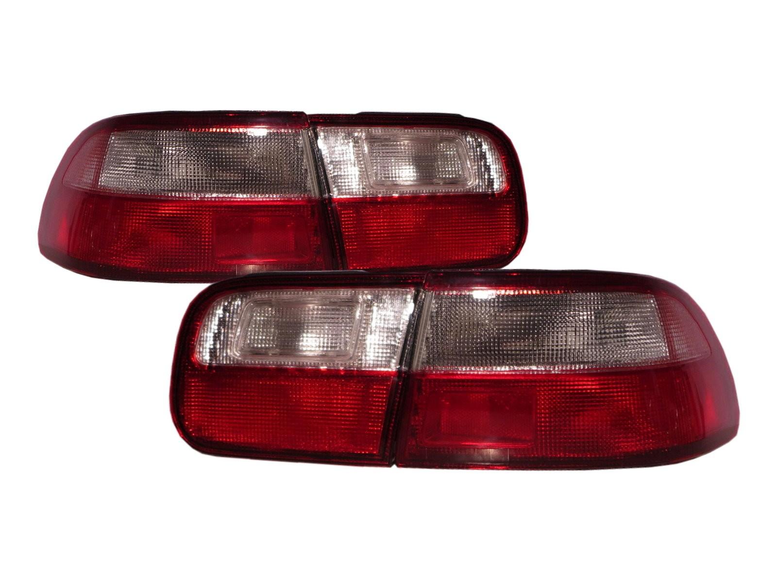 CrazyTheGod Civic EG/EH/EJ Fifth generation 1992-1995 Sedan 4D Clear Tail Rear Light Red/White for HONDA