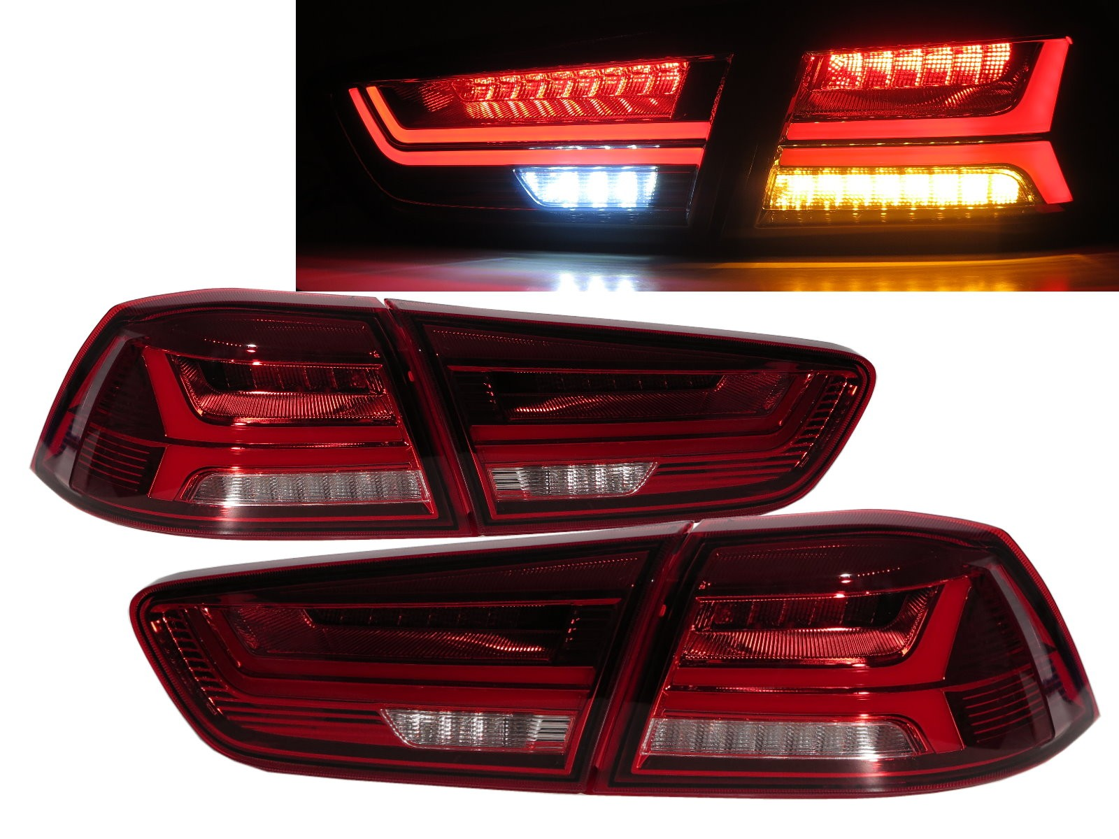 CrazyTheGod LANCER Lancer CY2A 2008-2016 Sedan 4D A6Look LED Tail Rear Light Red/Clear for Mitsubishi