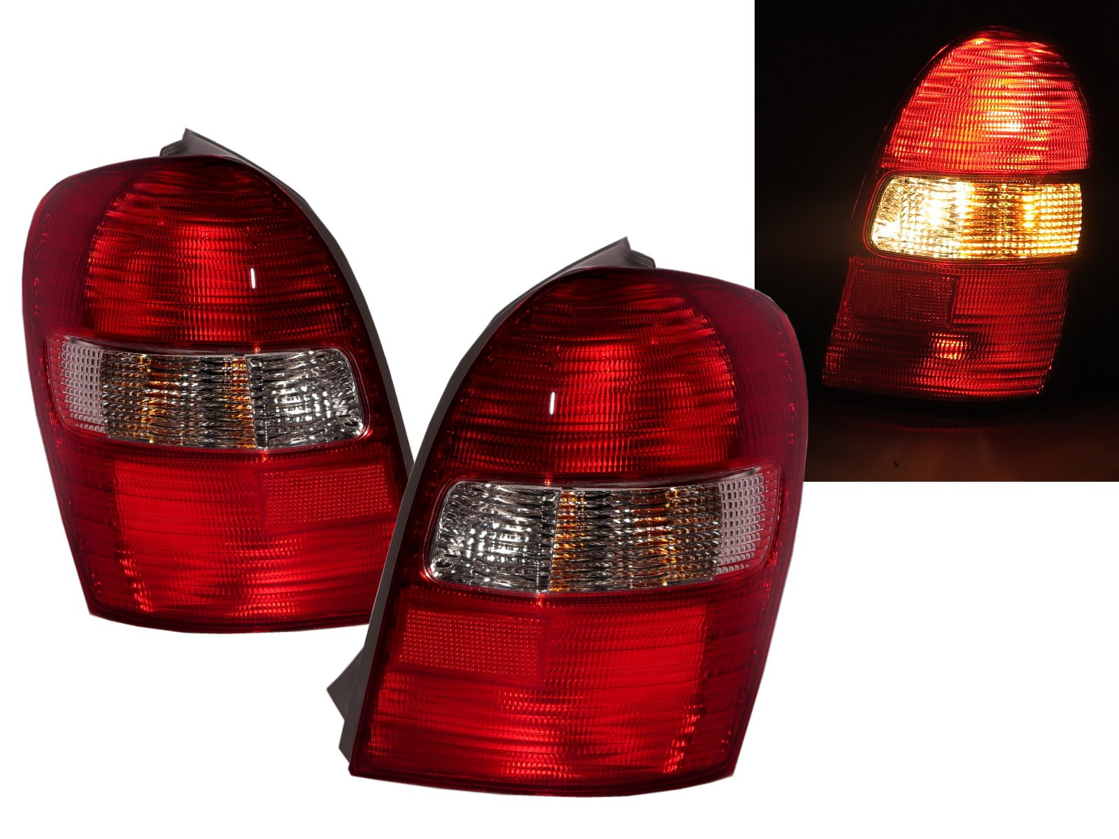 CrazyTheGod Allegro BJ Eighth generation 1998-2004 Hatchback 5D Clear Tail Rear Light Red/White for MAZDA