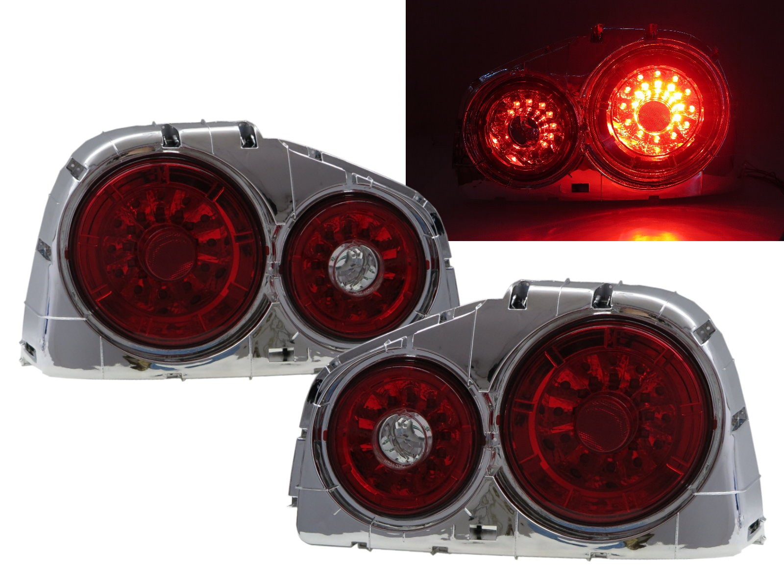 CrazyTheGod Skyline R34 1999-2002 Coupe 2D LED Tail Rear Light Red/Chrome for NISSAN
