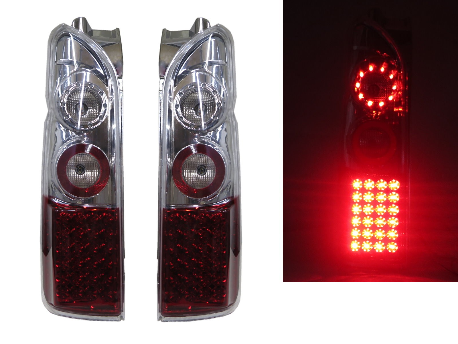 CrazyTheGod HIACE H200 First generation 2005-2011 VAN 3D/4D LED Tail Rear Light Red/White for TOYOTA