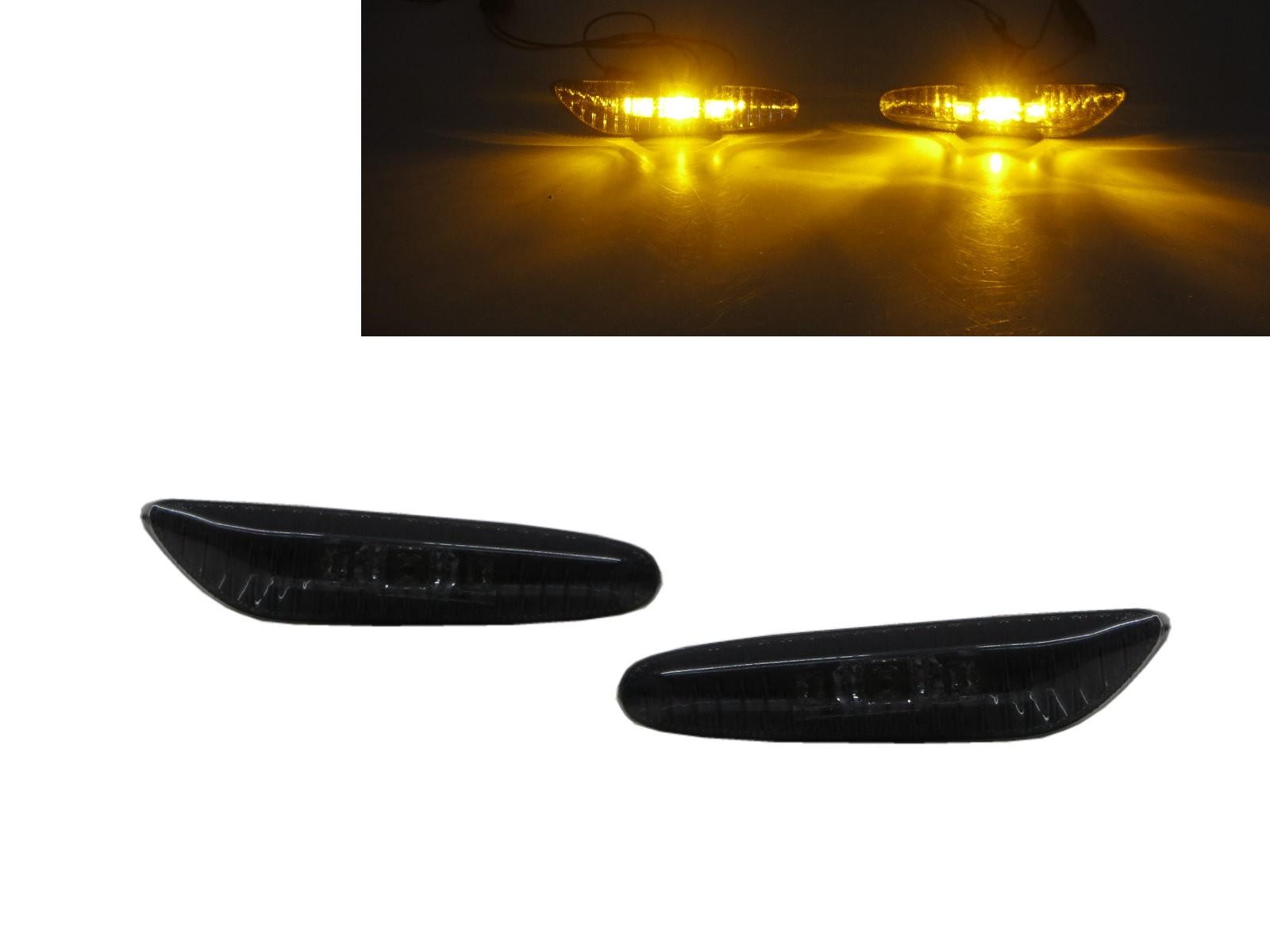 CrazyTheGod 5-Series E60/E61 Fifth generation 2003-2010 Sedan/Wagon 4D/5D LED Side Marker Light Lamp Smoke for BMW