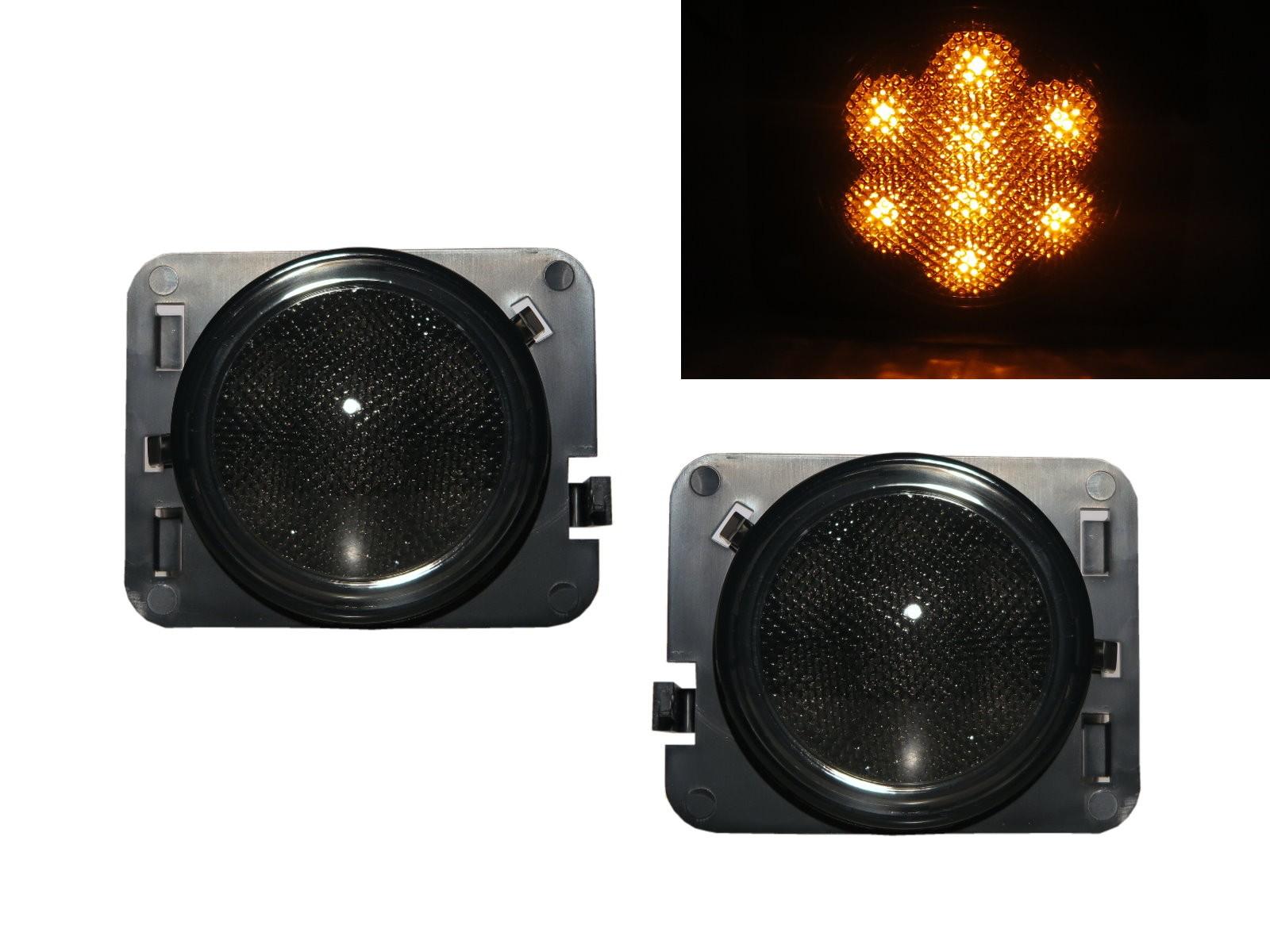 CrazyTheGod Wrangler JK Third generation 2007-2018 Convertible/SUV 2D/4D LED Side Marker Light Lamp Smoke for JEEP