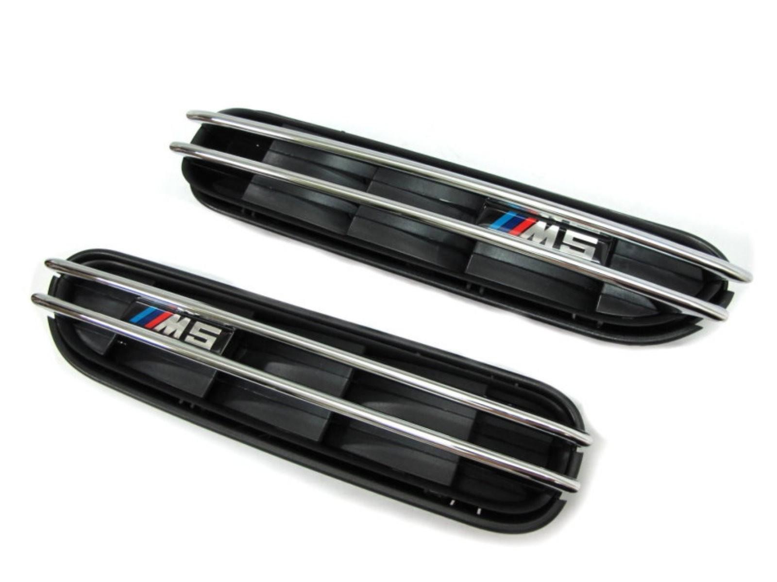 CrazyTheGod 5-Series E60/E61 Fifth generation 2003-2010 Sedan/Wagon 4D/5D Fender Vent Grille Black for BMW V2