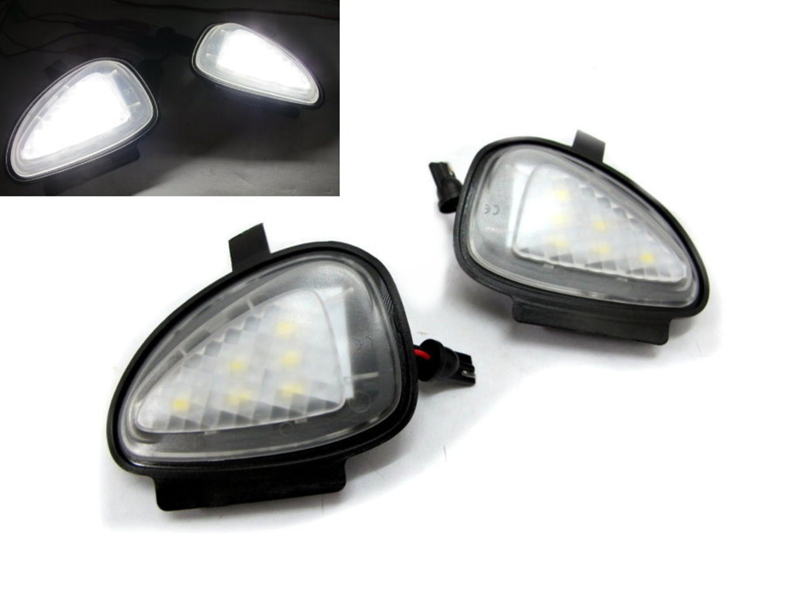 CrazyTheGod Golf CABRIOLET 2012-Present Convertible 2D LED Under Side Mirror Puddle Lights Black for VW Volkswagen