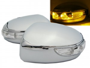 CrazyTheGod FX30d FX35 FX37 FX50 S51 2009-2013 Amber LED Signal Mirror Cover CHROME for INFINITI