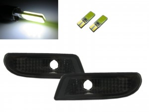 CrazyTheGod W220 2000-2006 Front Bumper Side Repeater Marker Indicators W/S LED Bulb SMOKE for Mercedes-Benz