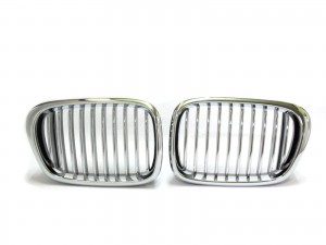 CrazyTheGod 5-Series E39 1995-2003 Sedan/Wagon 4D/5D M5Look GRILLE/GRILL Chrome/Black for BMW