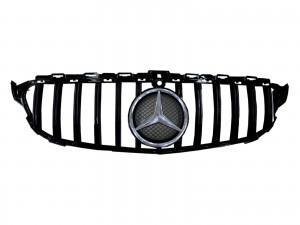 CrazyTheGod C-CLASS W205 2014-2018 Pre-Facelift Sedan 4D Star Emblem W/ Camera Hole GRILLE/GRILL Gloss Black for Mercedes-Benz