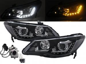 CrazyTheGod CSX 2005-2011 Sedan 4D LED Bar Projector D2S Bulb W/S Ballast Headlight Headlamp Black for ACURA LHD