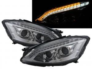 CrazyTheGod S-CLASS W221 2006-2009 PRE-FACELIFT Sedan 4D LED Bar Projector AFS D1S Headlight Headlamp Chrome V2 for Mercedes-Benz RHD