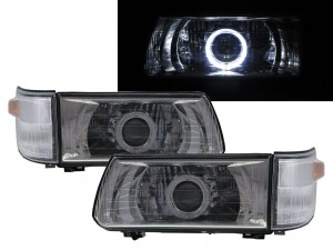 CrazyTheGod Dodge 1000 1999-present VAN 4D Guide LED Angel-Eye Projector W/ Corner Lamp Headlight Headlamp Chrome for DODGE RHD