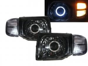 CrazyTheGod SHOGUN Second generation 97-99 FACELIFT SUV Guide LED Angel-Eye Projector Headlight Headlamp Black for Mitsubishi LHD