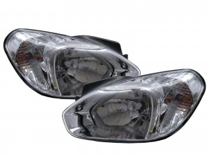 CrazyTheGod Attitude MC First generation 2005-2011 Sedan 4D Clear Headlight Headlamp Chrome V1 for DODGE LHD