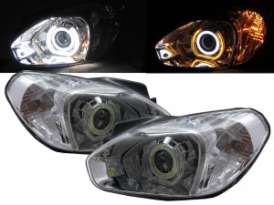 CrazyTheGod Attitude MC First generation 2005-2011 Sedan 4D COB 3D LED U Halo Headlight Headlamp Chrome V1 for DODGE RHD