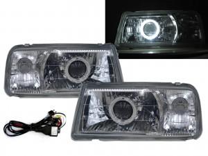 CrazyTheGod Tracker 88-98 Convertible 2D Guide LED Halo Headlight Headlamp Chrome V1 for GEO LHD
