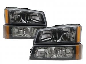 CrazyTheGod Silverado 2003-2006 Pickup/Truck 4D Crystal Headlight Headlamp Black for CHEVROLET CHEVY LHD