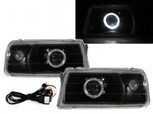 CrazyTheGod Tracker 1988-1998 Convertible 2D Guide LED Angel-Eye Projector Headlight Headlamp Black V1 for GEO LHD