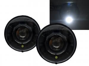 CrazyTheGod Motorcycles LED 7 inch Round Projector Headlight Headlamp Black V2 for Harley Davidson LHD