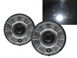 CrazyTheGod Motorcycles LED 7 inch Round Projector Headlight Headlamp Chrome V2 for Harley Davidson LHD