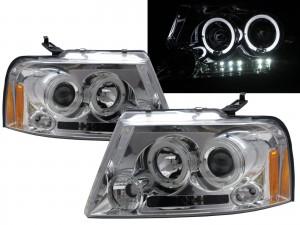 CrazyTheGod Mark LT First generation 2006-2008 Pickup 2D/4D Angel-Eye Projector Headlight Headlamp Chrome for LINCOLN RHD