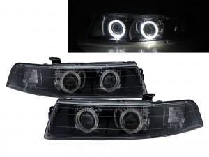 CrazyTheGod LANCER EVOLUTION EVO 6 Sixth generation 1998-2001 Sedan 4D Guide LED Angel-Eye Projector Headlight Headlamp Black V2 for Mitsubishi LHD
