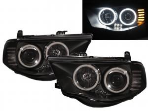 CrazyTheGod HUNTER 2005-2014 Pickup Truck/Ute/Bakkie 2D/4D LED Halo Projector Headlight Headlamp Black for Mitsubishi RHD