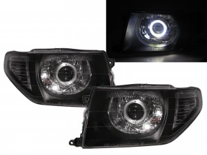CrazyTheGod Montero iO 1998-2015 SUV 3D/5D Guide LED Angel-Eye Projector Headlight Headlamp Black for Mitsubishi RHD