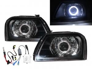 CrazyTheGod Storm 1996-2001 Wagon/Pickup 2D/4D/5D Guide LED Angel-Eye Projector HID Headlight Headlamp Black for Mitsubishi LHD