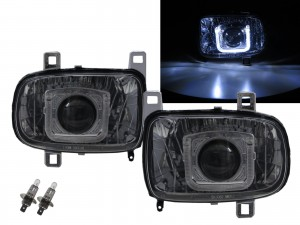 CrazyTheGod RX-7 RX7 FD3S Third generation 1992-2002 Coupe 2D Guide LED Angel-Eye Projector Halogen Headlight Headlamp Chrome for MAZDA LHD
