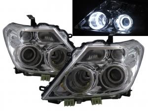 CrazyTheGod Patrol Y62 Sixth generation 2010-2014 Pre-Facelift Wagon/SUV 5D Guide LED Angel-Eye Projector Headlight Headlamp Chrome for NISSAN RHD