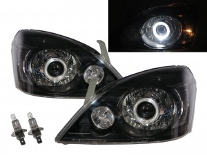 CrazyTheGod X-Trail T30 First generation 2003-2006 SUV 5D Guide LED Angel-Eye Projector Headlight Headlamp Black Taiwan for NISSAN LHD