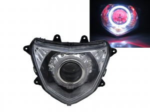 CrazyTheGod TIGRA 2012-Present Motorcycles Guide LED Angel-Eye Projector Headlight Headlamp Chrome for PGO