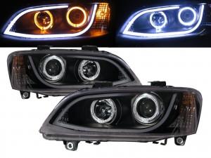 CrazyTheGod G8 2008-2009 Pre-Facelift SUV 5D Guide LED Angel-Eye Projector Headlight Headlamp Black for PEUGEOT RHD