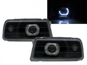 CrazyTheGod Sunrunner First generation 1988-1998 SUV 3D/5D Guide LED Angel-Eye Projector Headlight Headlamp Black V2 for PONTIAC LHD