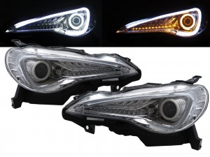 CrazyTheGod FR-S 2012-present Coupe 2D Cotton Halo LED Dynamic Turn Signal Halogen H1 Headlight Headlamp Chrome for SCION LHD