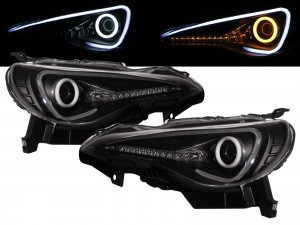 CrazyTheGod FR-S 2012-present Coupe 2D Cotton Halo LED Dynamic Turn Signal HID D4S Headlight Headlamp Black for SCION LHD