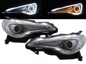 CrazyTheGod FR-S 2012-present Coupe 2D Cotton Halo LED Dynamic Turn Signal HID D4S Headlight Headlamp Chrome for SCION RHD