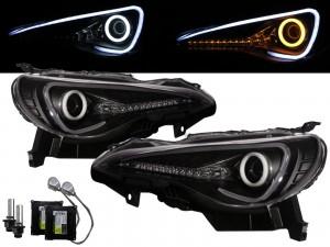 CrazyTheGod BRZ ZN6 2012-present Coupe 2D Cotton Halo LED Dynamic Turn Signal D4S Bulb W/S Ballast Headlight Headlamp Black for SUBARU RHD