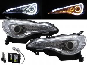 CrazyTheGod BRZ ZN6 2012-present Coupe 2D Cotton Halo LED Dynamic Turn Signal D4S Bulb W/S Ballast Headlight Headlamp Chrome for SUBARU LHD