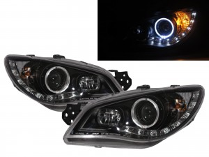 CrazyTheGod IMPREZA GD GG Second generation 2006-2007 FACELIFT Sedan/Hatchback 4D/5D Guide LED Halo LED Bar Headlight Headlamp Black for SUBARU RHD