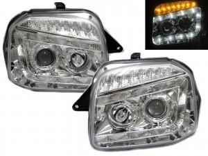 CrazyTheGod Jimny Wide Sierra JB23/JB33/JB43/JB53 Third generation 1998-2018 SUV 2D Projector LED R8Look Headlight Headlamp Chrome for SUZUKI RHD