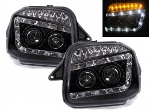 CrazyTheGod Jimny Wide Sierra JB23/JB33/JB43/JB53 Third generation 1998-2018 SUV 2D Projector LED R8Look Headlight Headlamp Black for SUZUKI RHD